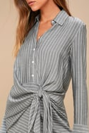 Poised and Proper Grey Striped Knotted Shirt Dress 4