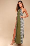Brinkley Olive Green Print Maxi Dress 2