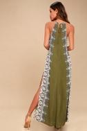 Brinkley Olive Green Print Maxi Dress 3