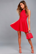 Gal About Town Red Skater Dress 2