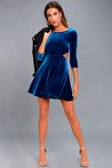 Charisma and Charm Royal Blue Velvet Backless Dress 2