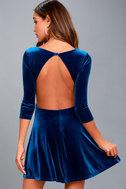 Charisma and Charm Royal Blue Velvet Backless Dress 3