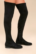 Racy Black Suede Over the Knee Boots 2