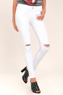 Lean With It White Distressed Skinny Ankle Jeans 2