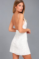 Force of Fashion White Backless Sequin Mini Dress 3