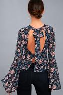 Odine Navy Blue Floral Print Long Sleeve Top 7