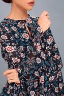 Odine Navy Blue Floral Print Long Sleeve Top 8