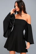 Moonlit Dance Black Off-the-Shoulder Skater Dress 1