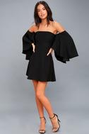 Moonlit Dance Black Off-the-Shoulder Skater Dress 2