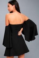 Moonlit Dance Black Off-the-Shoulder Skater Dress 3