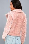 Cozy Business Blush Pink Faux Fur Moto Jacket 4