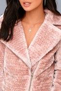 Cozy Business Blush Pink Faux Fur Moto Jacket 5