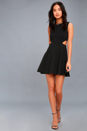 Toast to You Black Cutout Skater Dress 2