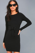 Hearts Aflame Black Lace-Up Long Sleeve Bodycon Dress 1