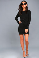Hearts Aflame Black Lace-Up Long Sleeve Bodycon Dress 2