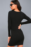 Hearts Aflame Black Lace-Up Long Sleeve Bodycon Dress 3