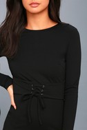 Hearts Aflame Black Lace-Up Long Sleeve Bodycon Dress 4