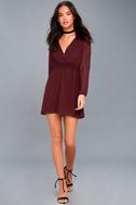 Indy Burgundy Long Sleeve Dress 1