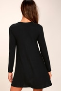 Pretty as a Picture Black Long Sleeve Swing Dress 1