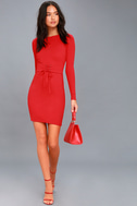 Hearts Aflame Red Lace-Up Long Sleeve Bodycon Dress 2