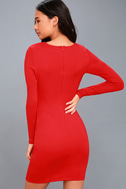 Hearts Aflame Red Lace-Up Long Sleeve Bodycon Dress 3