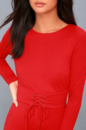 Hearts Aflame Red Lace-Up Long Sleeve Bodycon Dress 4