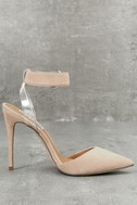 Diva Blush Suede Leather Lucite Heels 2