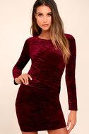 In a Gleam Burgundy Velvet Long Sleeve Bodycon Dress 1