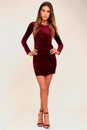 In a Gleam Burgundy Velvet Long Sleeve Bodycon Dress 2