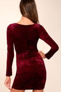 In a Gleam Burgundy Velvet Long Sleeve Bodycon Dress 3