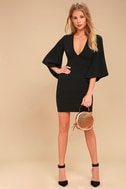 Glimpse of Glamour Black Bell Sleeve Bodycon Dress 1