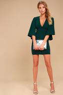 Chic Bell Sleeve Dress Forest Green Dress Plunging Dress