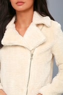 Cozy Business Cream Faux Fur Moto Jacket 4