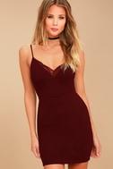 Secret Crush Burgundy Lace Bodycon Dress 3