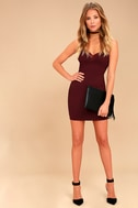 Secret Crush Burgundy Lace Bodycon Dress 2