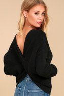 Heart Throb Black Cropped Knit Sweater 6