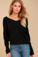 Heart Throb Black Cropped Knit Sweater 5