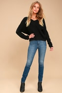 Heart Throb Black Cropped Knit Sweater 7