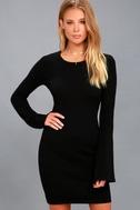 Elizabella Black Bell Sleeve Bodycon Sweater Dress 2