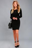Elizabella Black Bell Sleeve Bodycon Sweater Dress 1