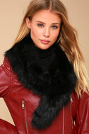Oksana Black Faux Fur Scarf 2