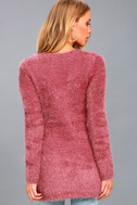 Pam Mauve Pink Eyelash Knit Sweater 4