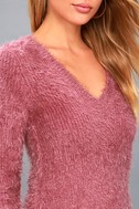 Pam Mauve Pink Eyelash Knit Sweater 5