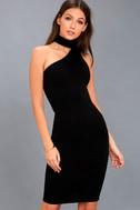 Fan of the Glam Black One-Shoulder Bodycon Midi Dress 2