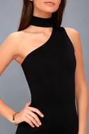 Fan of the Glam Black One-Shoulder Bodycon Midi Dress 4