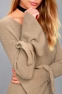 Take a Breath Beige Long Sleeve Knit Sweater Dress 4