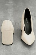 Lilah Oatmeal Suede Pumps 4
