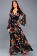 Petals on the Breeze Black Floral Print Maxi Dress 1