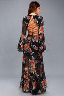 Petals on the Breeze Black Floral Print Maxi Dress 4