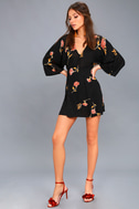 Wayfair Black Floral Print Long Sleeve Dress 2
